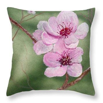 Georgia Peach Blossoms Throw Pillow