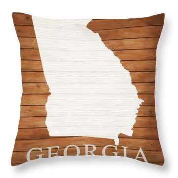 Georgia Rustic Map On Wood Throw Pillow
