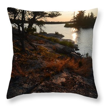 Georgian Bay Rock-wild Grass At Sunset Throw Pillow
