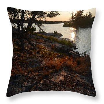 Georgian Bay Rock-wild Grass At Sunset Throw Pillow