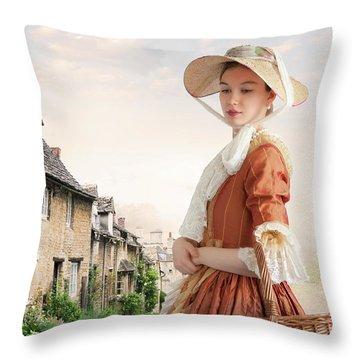 Georgian Period Woman Throw Pillow by Lee Avison