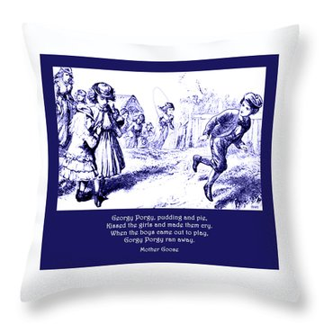 Georgy Porgy Mother Goose Illustrated Nursery Rhyme Throw Pillow