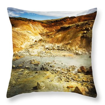 Geothermal Area In Reykjanes Iceland Throw Pillow