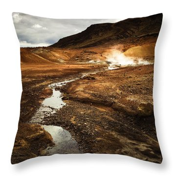 Geothermal Area Krysuvik In Iceland Throw Pillow