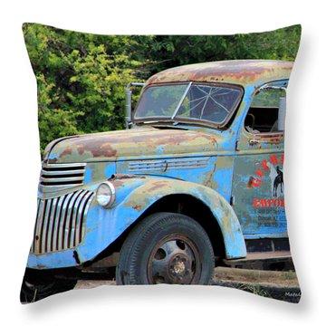 Geraine's Blue Truck Throw Pillow