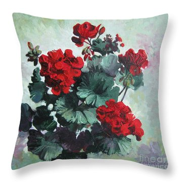 Throw Pillow featuring the painting Geranium by Elena Oleniuc