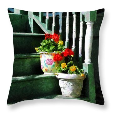 Geraniums And Pansies On Steps Throw Pillow by Susan Savad