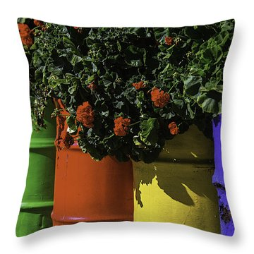 Geraniums In Colorful Barrels Throw Pillow