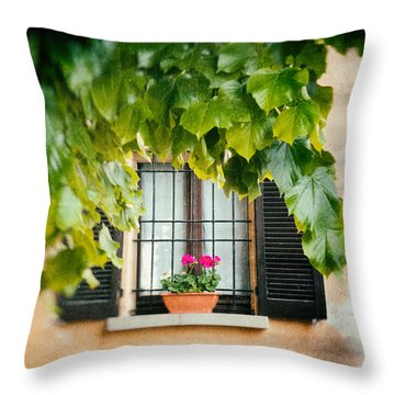 Throw Pillow featuring the photograph Geraniums On Windowsill by Silvia Ganora