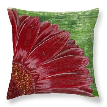 Gerber Daisy- Red Throw Pillow