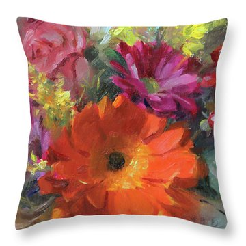Gerber Daisy Study Throw Pillow by Anna Rose Bain