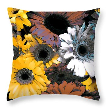 Gerbera Cluster Throw Pillow by Linda  Parker