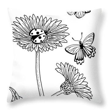 Gerbera Daisies Drawing Throw Pillow