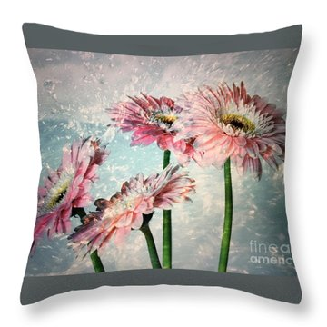 Gerbera Daisies With A Splash Throw Pillow