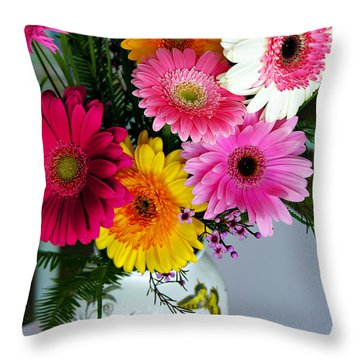 Gerbera Daisy Bouquet Throw Pillow
