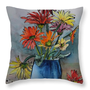 Gerberas In A Blue Pot Throw Pillow