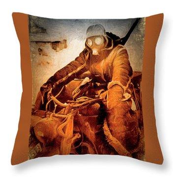 German Biker Throw Pillow