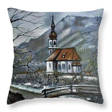 German Church At Ramsau  Throw Pillow