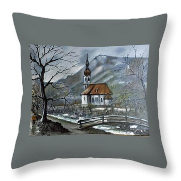 German Church At Ramsau  Throw Pillow