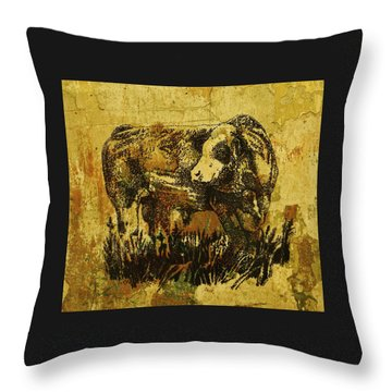 German Fleckvieh Bull 21 Throw Pillow