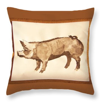 Throw Pillow featuring the photograph German Pietrain Boar 31 by Larry Campbell