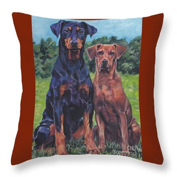 Throw Pillow featuring the painting German Pinschers by Lee Ann Shepard