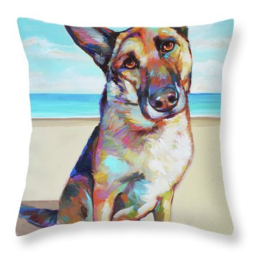 German Shepard On The Beach Throw Pillow