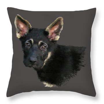 German Shepard Puppy Throw Pillow by Kathie Miller