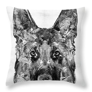 Throw Pillow featuring the painting German Shepherd Black And White By Sharon Cummings by Sharon Cummings