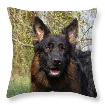 German Shepherd Close Up Throw Pillow