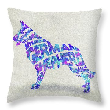 Throw Pillow featuring the painting German Shepherd Dog Watercolor Painting / Typographic Art by Ayse and Deniz