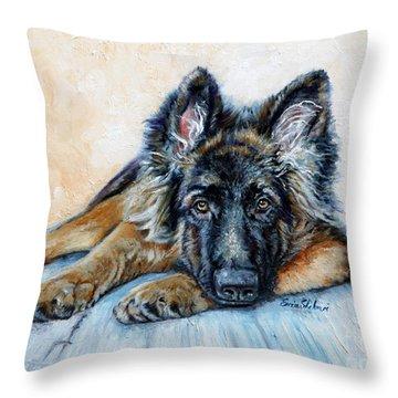 German Shepherd Throw Pillow by Enzie Shahmiri