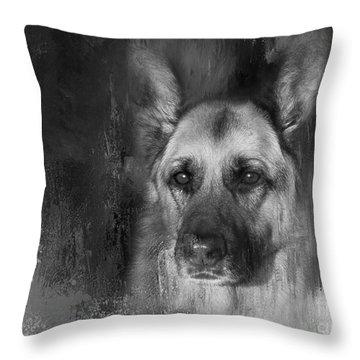 German Shepherd In Black And White Throw Pillow