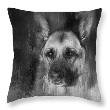 German Shepherd In Black And White Throw Pillow