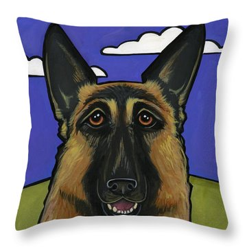German Shepherd Throw Pillow by Leanne Wilkes