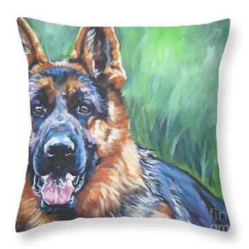 German Shepherd Throw Pillow by Lee Ann Shepard