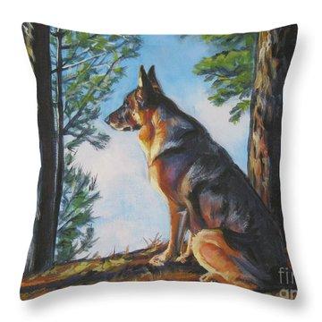 German Shepherd Lookout Throw Pillow by Lee Ann Shepard