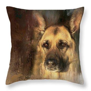 German Shepherd Portrait Color Throw Pillow