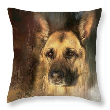 German Shepherd Portrait Color Throw Pillow