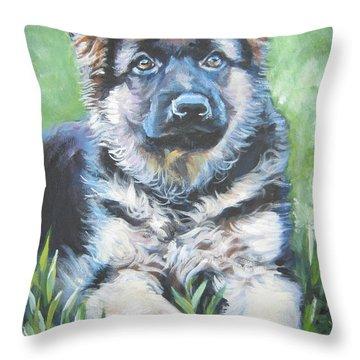 German Shepherd Puppy Throw Pillow by Lee Ann Shepard