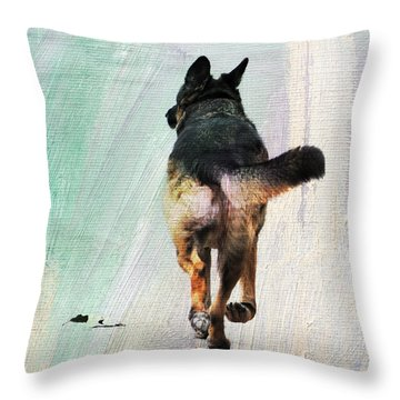 German Shepherd Taking A Walk Throw Pillow
