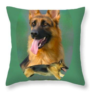 German Shepherd With Name Logo Throw Pillow