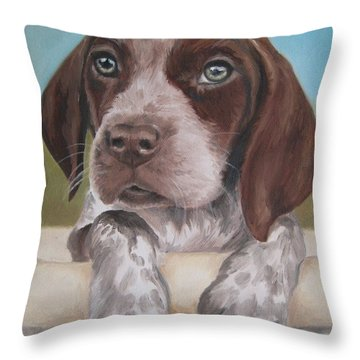 Throw Pillow featuring the painting German Shorhaired Pointer Puppy by Jindra Noewi