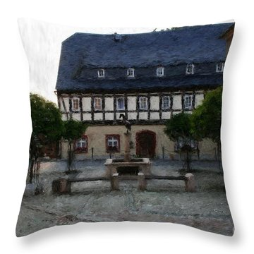 German Town Square Throw Pillow