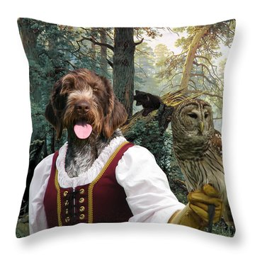 German Wirehaired Pointer Art Canvas Print - Lady Owl And Little Bears Throw Pillow
