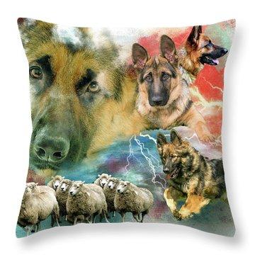 German Shepherd Collage Throw Pillow