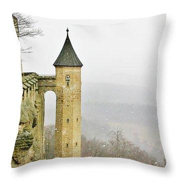 Germany - Elbtal From Festung Koenigstein Throw Pillow by Christine Till