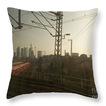 Germany Trains Throw Pillow by Deborah DeLaBarre