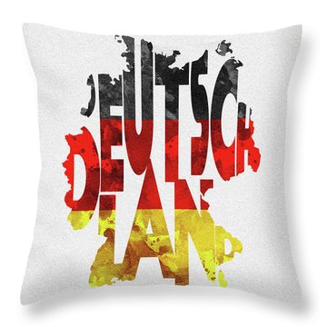 Germany Typographic Map Flag Throw Pillow