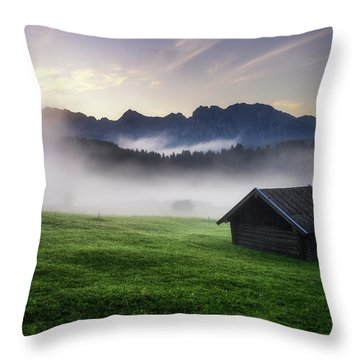 Geroldsee Forest With Beautiful Foggy Sunrise Over Mountain Peaks, Bavarian Alps, Bavaria, Germany. Throw Pillow